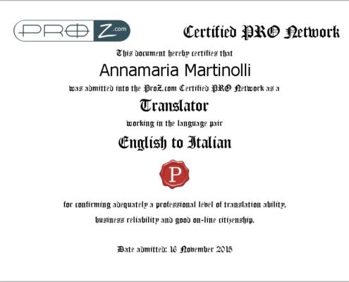 Certificato inglese sito traduttori Pro